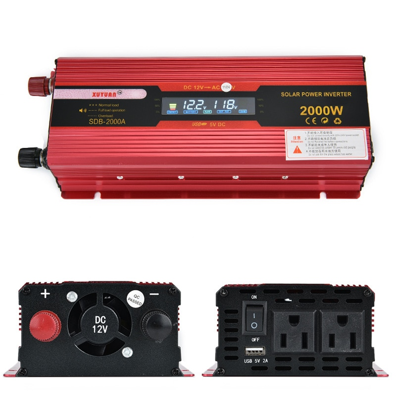 10 unids/lote Inversor de coche 12v 110v 2000W transformador de voltaje convertidor de coche 12 a 220 Inversor de energía Solar cargador de Inversor automático