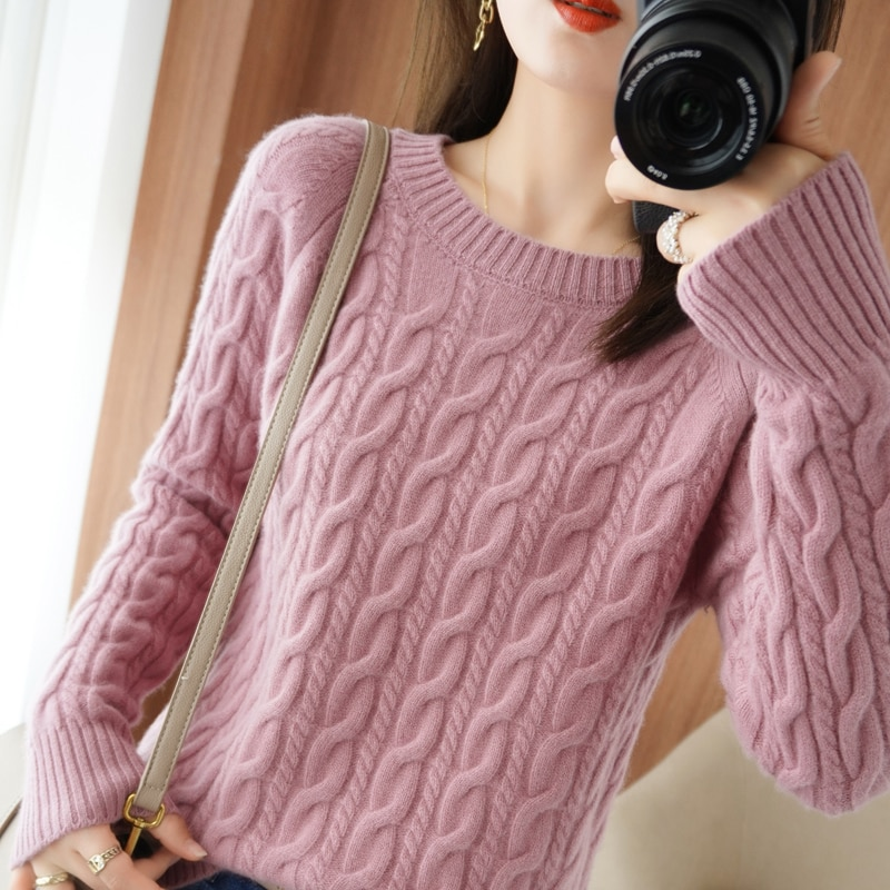 2021 autumn/winter new 100% wool sweater women thick casual solid color round neck cashmere sweater plus size ladies loose top enlarge