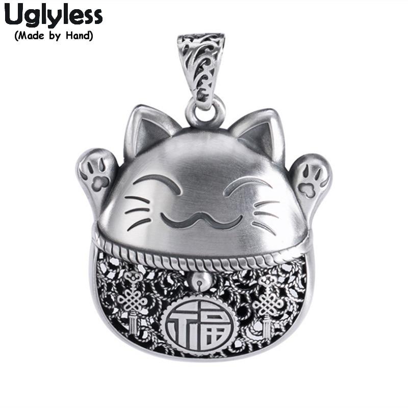 Uglyless adorável sorte gatos colares sem corrente real 999 prata animais thai prata kitty pingentes étnicos animais de estimação gato moda jóias