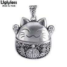 Uglyless güzel şanslı kediler kolye hiçbir zincir gerçek 999 gümüş hayvanlar tay gümüş Kitty kolye etnik evcil kedi moda takı