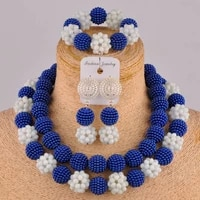 beautiful royal blue and white crystal bead african necklace set nigerian beads jewelry sets fzz96 03
