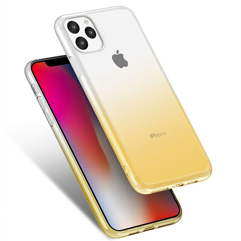 Fasamolong claro gradiente caixa do telefone para o iphone 11 pro max 11pro 10 x xr xs max 6 s 7 8 plus se 2020 tpu macio silicone capa