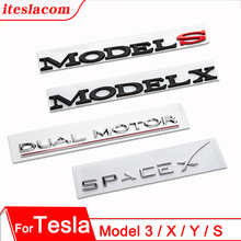 2021 Car Trunk 3D Metal Letter Sticker Tesla Logo Letters Tail Letter Label For Tesla Model Y 3 S X Three Model3 Accessories