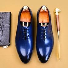 Genuine leather Men casual shoes business dress banquet suit shoes men brand brogue wedding oxford shoes for men black blue