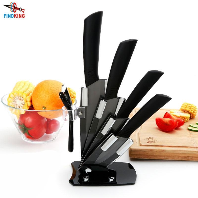 "High quality brand black blade kicthen ceramic knife set  3"" 4"" 5"" 6"" inch + peeler + Acrylic Holder/stand Chef Kitchen knife"