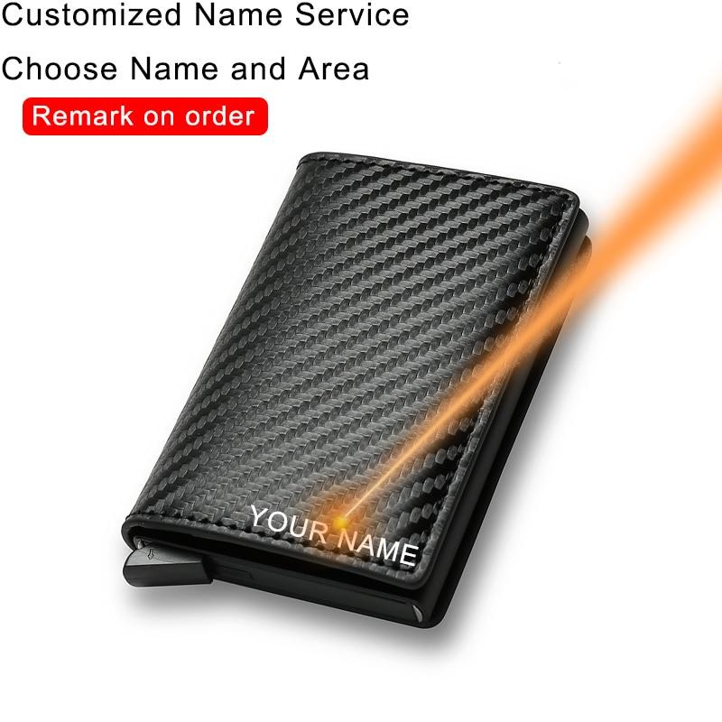 DIENQI Carbon Fiber Card Holder Wallets Men Brand Rfid Black Magic Trifold Leather Slim Mini Wallet Small Money Bag Male Purses