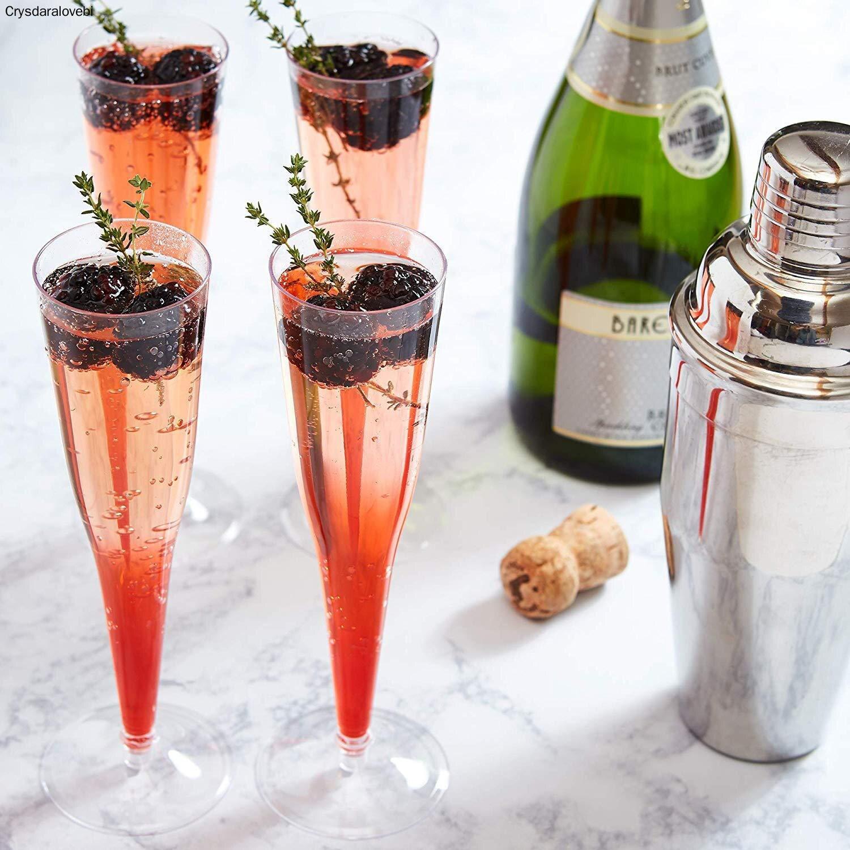Copas de champán de plástico desechables con purpurina dorada, copas de champán de tostado transparente, paquete de 130ml para fiestas de bodas