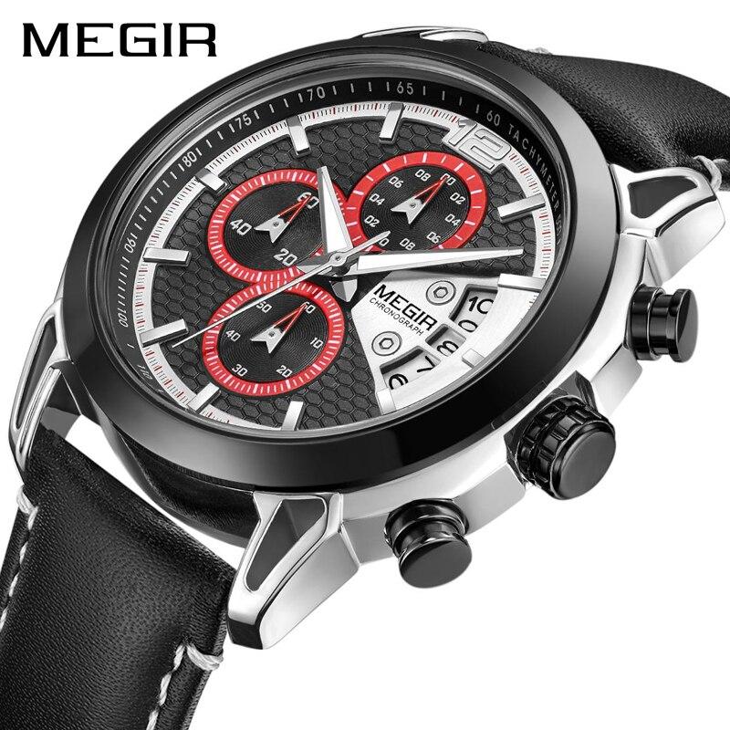 MEGIR للرجال ساعات الأعلى العلامة التجارية الفاخرة ساعة كوارتز بكرونوجراف الرجال عارضة للماء Reloj Hombre الرياضة ووتش Relogio Masculino