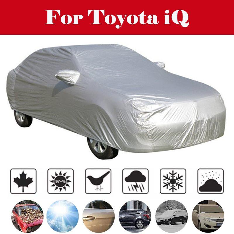 Pleine bâches de voiture neige glace poussière soleil UV ombre couverture lumière argent taille S-XL Auto voiture protection extérieure couverture pour Toyota iQ