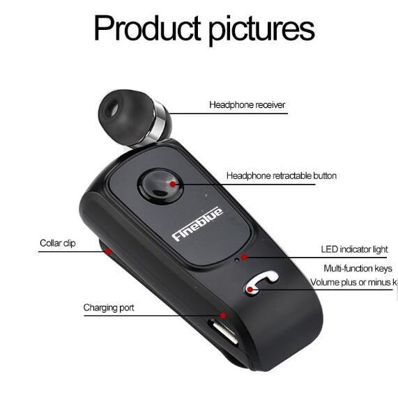 Fineblue F920 Pro Mini Wireless Retractable Portable Bluetooth Headset Calls Remind Vibration Wear Clip Sports Running Earphone