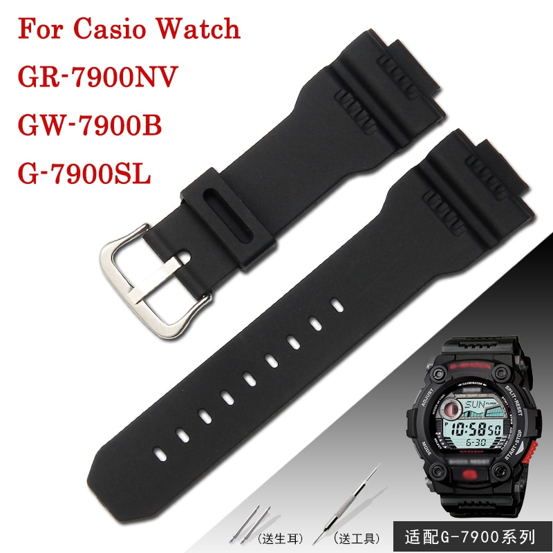 16mm Silicone Watch Strap for Casio G7900 Wristband G-7900SL GW-7900B GR-7900NV Male Rubber Bracelet Men's Watches Band