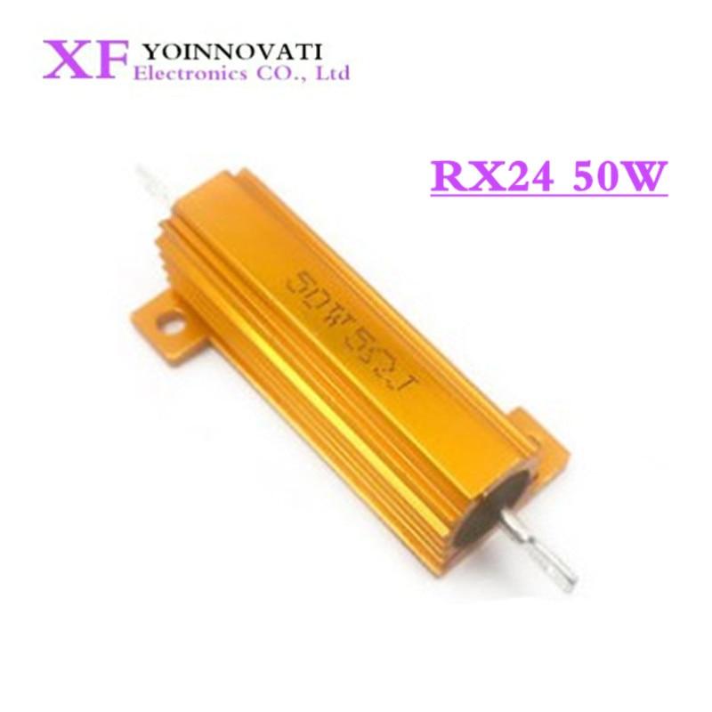 Resistencia de carga LED de aluminio RX24, 50W, 1R, 2R, 3R, 4R, 5R, 6R, 8R, 10R, 15R, 20R, 30R, 40R, 50R, 100R, 220R, 1K Ohm