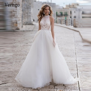 Verngo 2021 Eleagnt A Line Lace And Tulle Wedding Dresses Beach High Neck Pearls Buttons Back Sweep Train Modest Bridal Gown