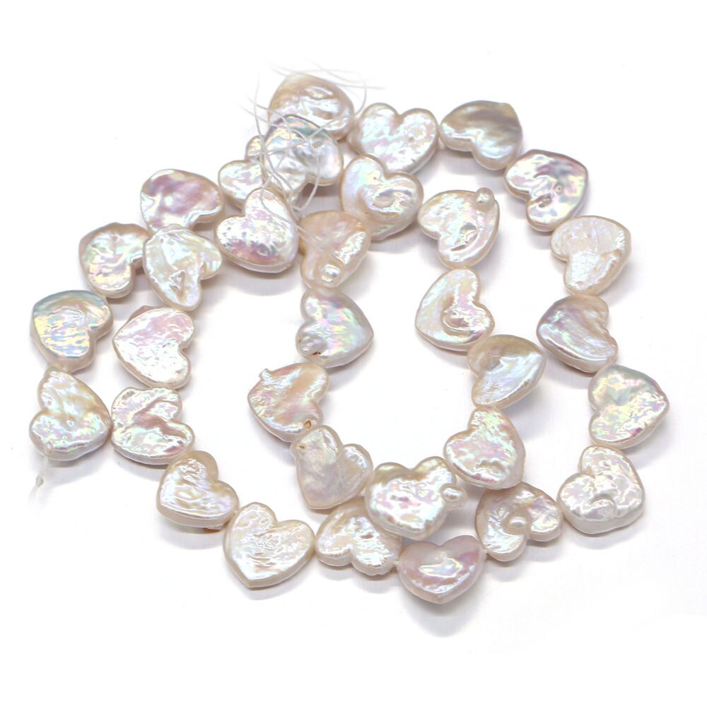 Fine 100% Freshwater Pearls Beaded Hearts Natural Baroque Pearl Loose Beads For Jewelry Making DIY Bracelet Necklace Gift 14''  - buy with discount
