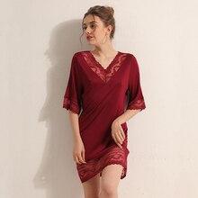 Robe de nuit en soie naturelle nuisettes pour femmes vêtements de nuit sexy dentelle maison robe col en v demi-manches en vrac été 2020