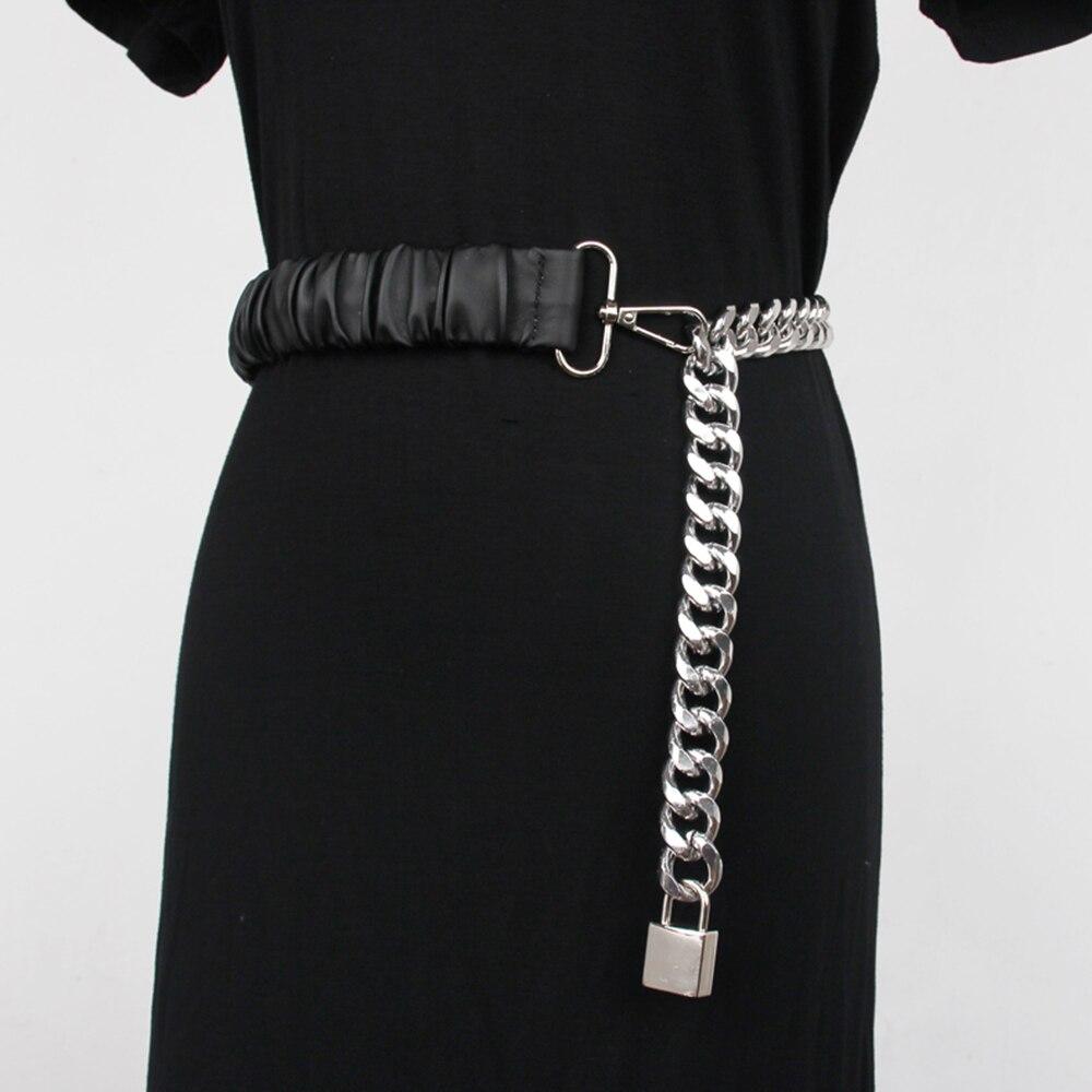 شارع تبادل لاطلاق النار المألوف جديد قفل حزام الإناث سلسلة الربط مرونة الخصر مع تنورة الخصر ختم مهرج المعادن مطاطا المد