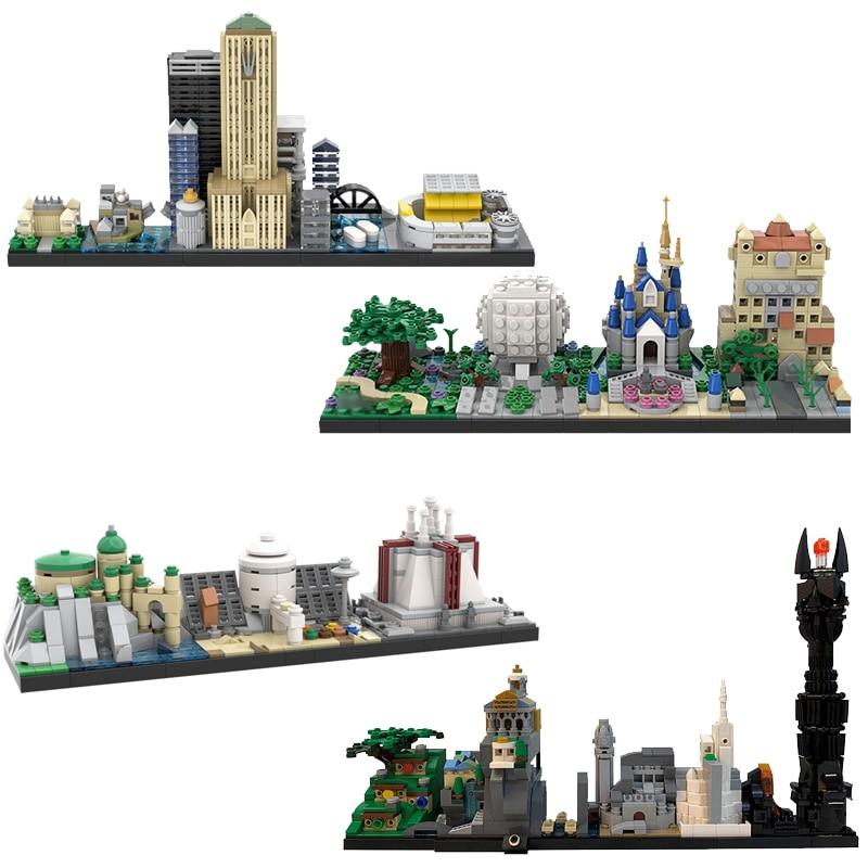 Городские здания Назад в будущее сказка волшебный замок дом фильм Скайлайн архитектура строительные блоки городские игрушки