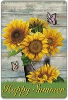 bellowdeer rustic happy summer sunflower metal tin signs home outdoor farmhouse summer sayings happy summer signs home yard