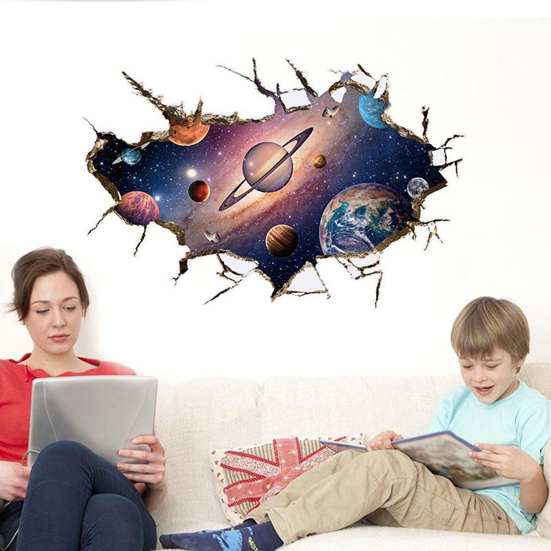 3d espaço exterior astronauta planeta decoração da parede adesivos meninos crianças decoração do quarto fundo adesivo mural papel de parede
