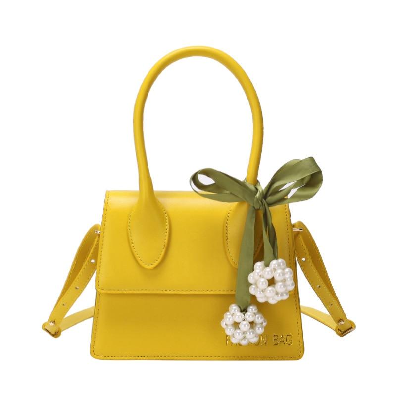 Bolso bandolera con solapa de cuero amarillo sólido con cintas de decoración de perlas Bolsos De Mujer bolsos de noche dulces bolsos de regalo para niña