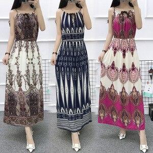 Женское длинное платье на бретельках в китайском стиле, летнее пляжное платье макси в стиле бохо без рукавов с воротником «одно слово» и цве...