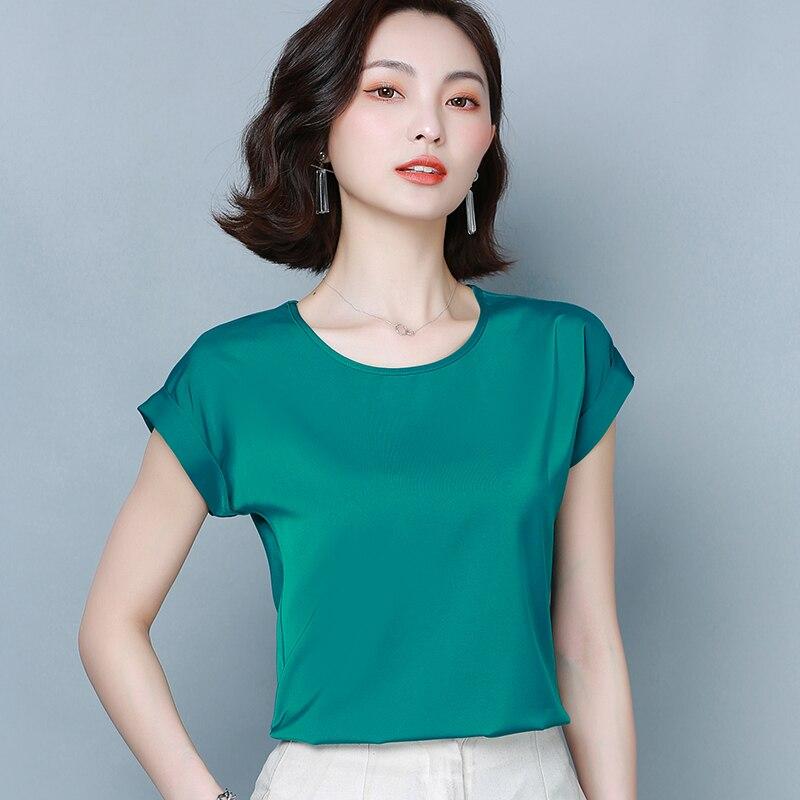 Blusas coreanas De seda pesada, blusa De satén Lisa para Mujer, Blusas De verano De manga corta para Mujer, Blusas De talla grande, Blusas De Moda para Mujer 2020