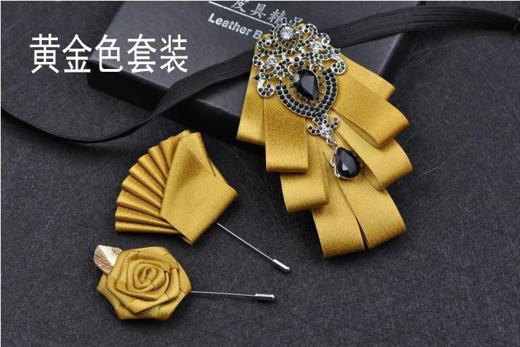 Luxury Black Rhinestone Handmade Men Double-Layer Collar Flower Wedding Groom Ribbon Bow Tie Set