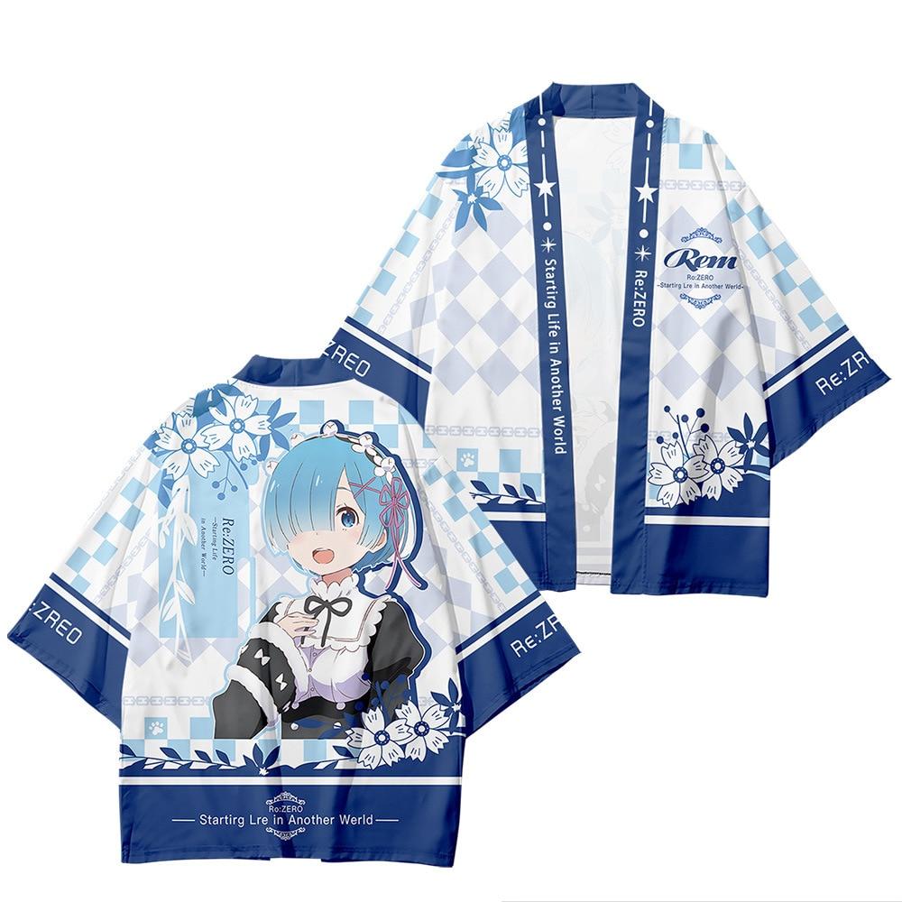 New Japanese Anime Re:Zero Starting Life in Another World Rem Cosplay Kimono Yukata Haori Obi Beach Cardigan Streetwear Top Tees