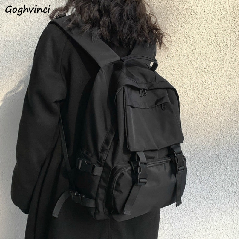 Backpacks Preppy Students Backpack Large Capacity Button Travel Bag Solid Simple Harajuku Chic Fashi