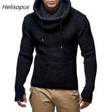 Мужские водолазки с перчатками Helisopus 2020 Весна Зима байкерские свитера тонкий вязаный пуловер свитер