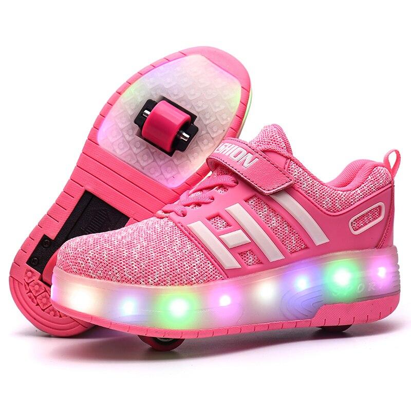 Zapatillas de deporte ligeras Con doble rueda para niño y niña, Zapatos...