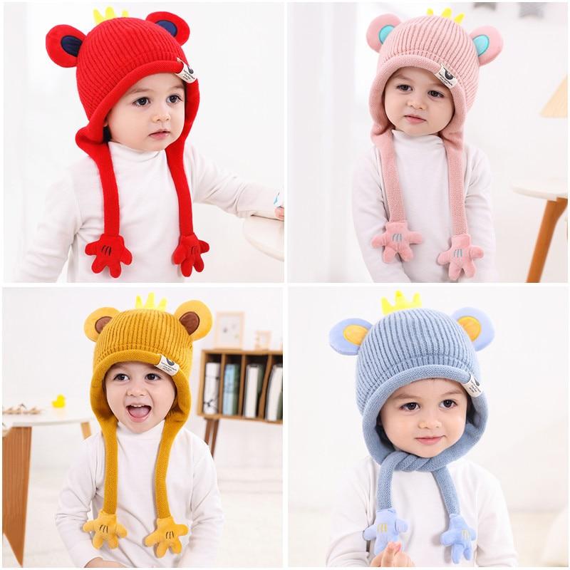 Winter New Korean Children's Hats Cute Cartoon Little Palm Baby Woolen Hat Boys and Girls Baby Knitted Hats