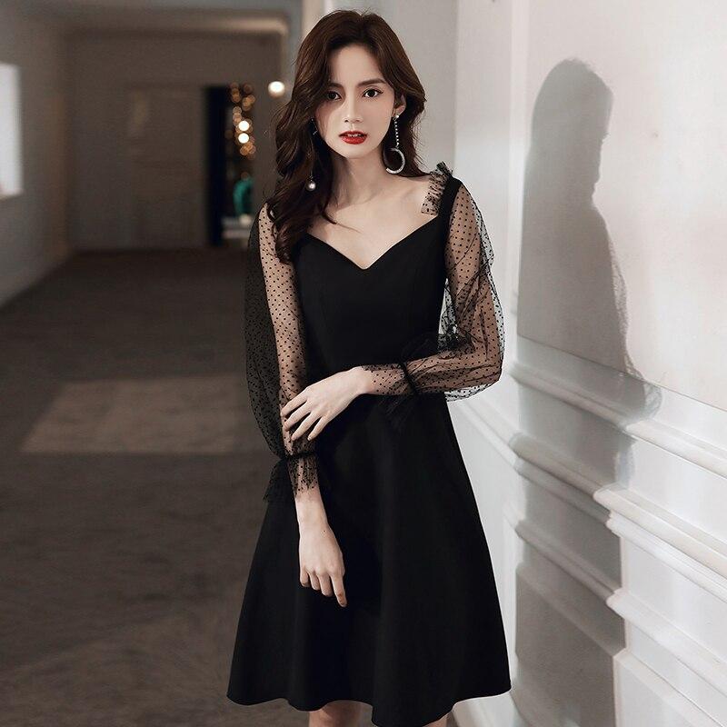 Vestido De cóctel negro Sexy elegante para mujer Abiti Da Cerimonia Da Sera Belt Mini vestido Formal De fiesta bata con cuello en V De noche