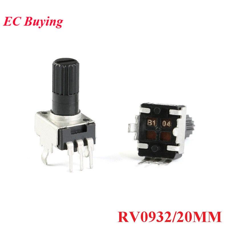 10 piezas RV0932 potenciómetro mango ajustable 20 MM eje redondo 1 K/102 5 K/502 10K /103 50 K/503/100 K/104 WH09 0932 20 MM