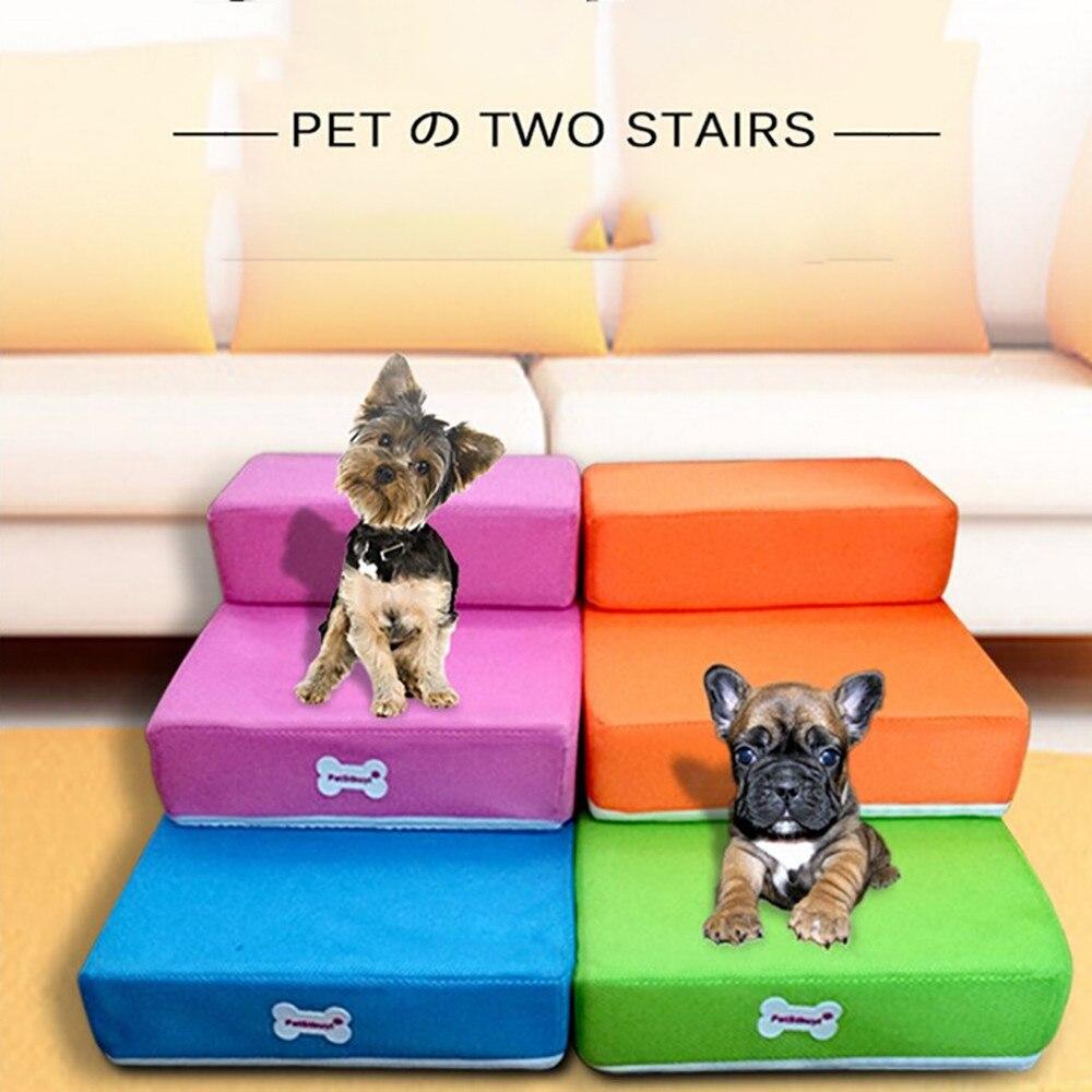 De malla transpirable plegable para mascotas escaleras desmontable para mascotas cama escaleras rampa para perros 2 pasos de escalera para perros pequeños cama para gato, perro estera de cojín ^ 30
