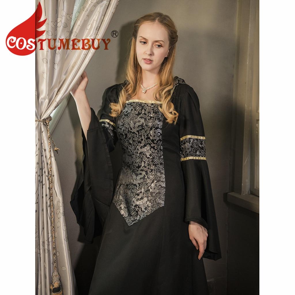 CostumeBuy Medieval Women Black Trumpet Sleeves Dress Victorian Gothic Retro Dress Vampire Evenging