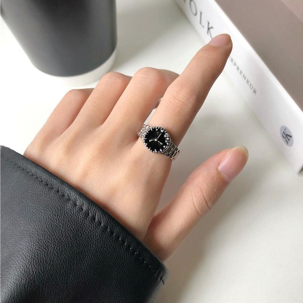Women Personality Cool Wind Senior Niche Index Finger Ring Fashion Creative Chic Watch Shape Design