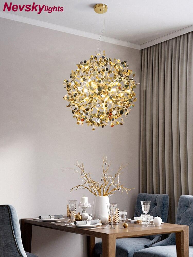 قلادة إضاءة أرضية من الاستانليس ستيل الظل غرفة الطعام قلادة led مصابيح بهو الحديثة الذهبي الإضاءة مطعم الفضة المعيشة تركيبات