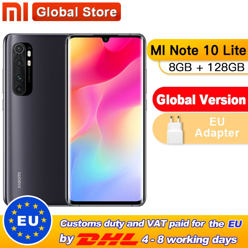 "Version mondiale Xiaomi Mi Note 10 Lite 128 go 8 go Snapdragon 730G Octa Core Smartphone 5260mAh 6.47 ""AMOLED 64MP Quad caméra"