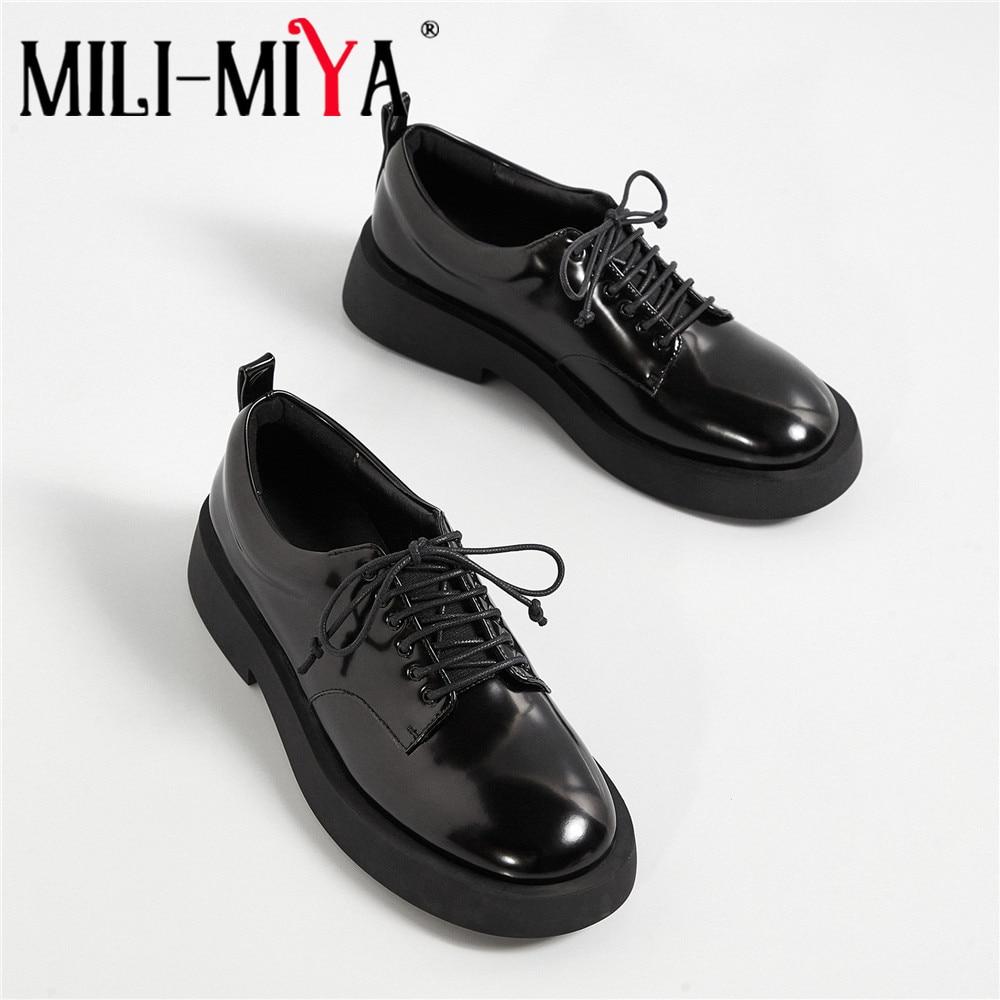 MILI-Miya جديد وصول المرأة جلد البقر الشقق الدانتيل يصل جولة تو مريحة الشارع الربيع الخريف أحذية حجم 34-40 للسيدات