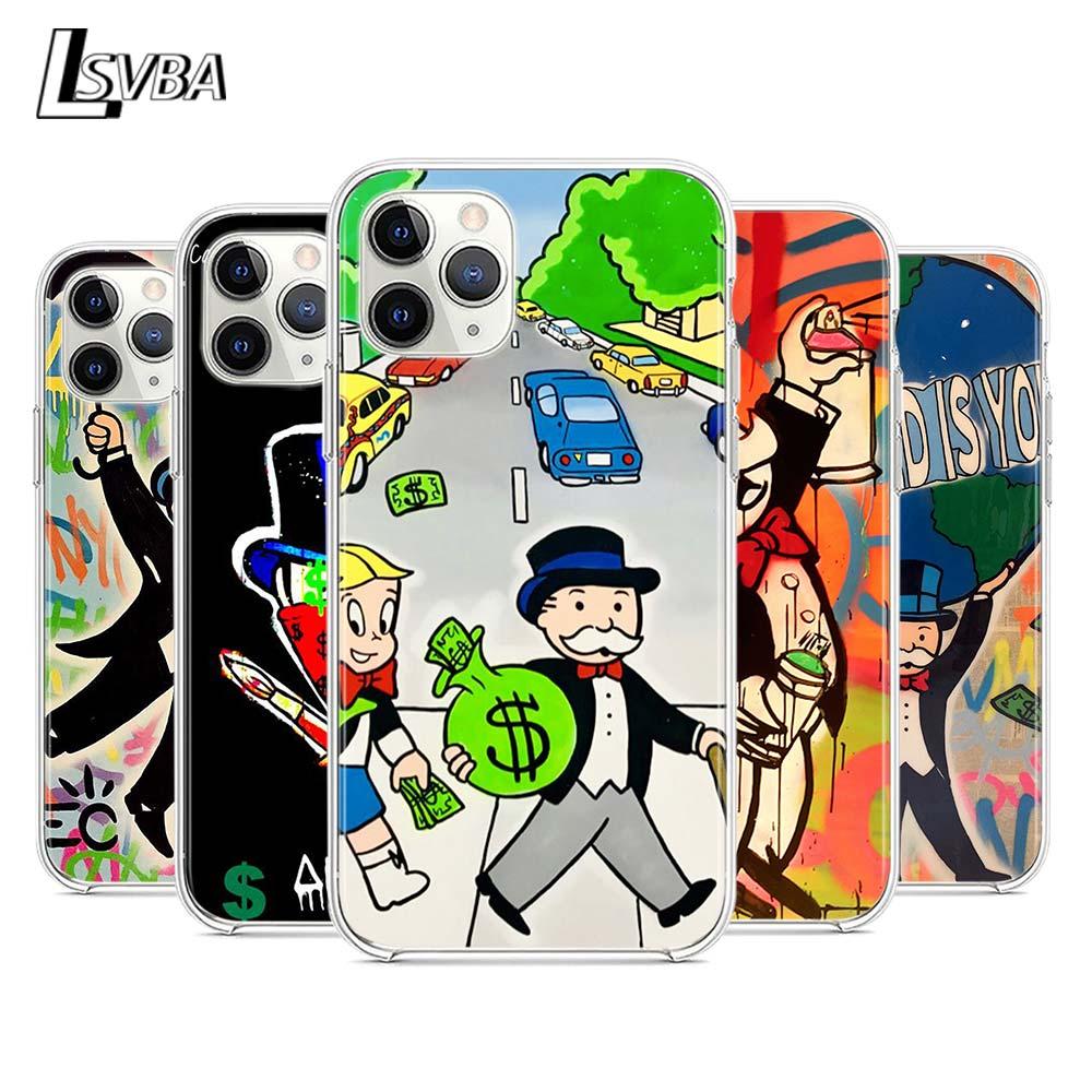 Dólar dos desenhos animados monopoly silicone capa para apple iphone 12 mini 11 pro xs max xr x 8 7 6s 6 plus 5S se 2020 caso de telefone