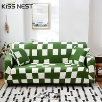 all inclusive high elastic green plaid sofa cover 1 2 3 4 seats2 pieces are needed the l shapedcorner sofa for living room