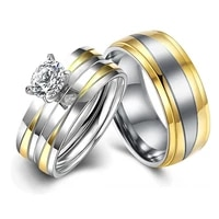 fashion stainless steel wedding ring simple design zircon couple ring for women and men jewelry lover gift