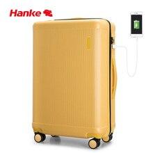 Hanke bagage roulant sac de luxe concepteur valise chariot de voyage hommes femmes 100% PC USB Charge Spinner roue TSA serrure H9803