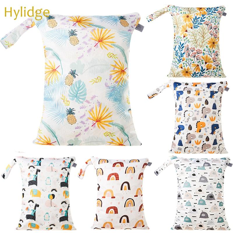 Hylidge Printed 3D Flower Wet Bag for Mom Stroller Bag Organizer Waterproof Reusable Baby Diaper Bag Protable Travel Baby Bag