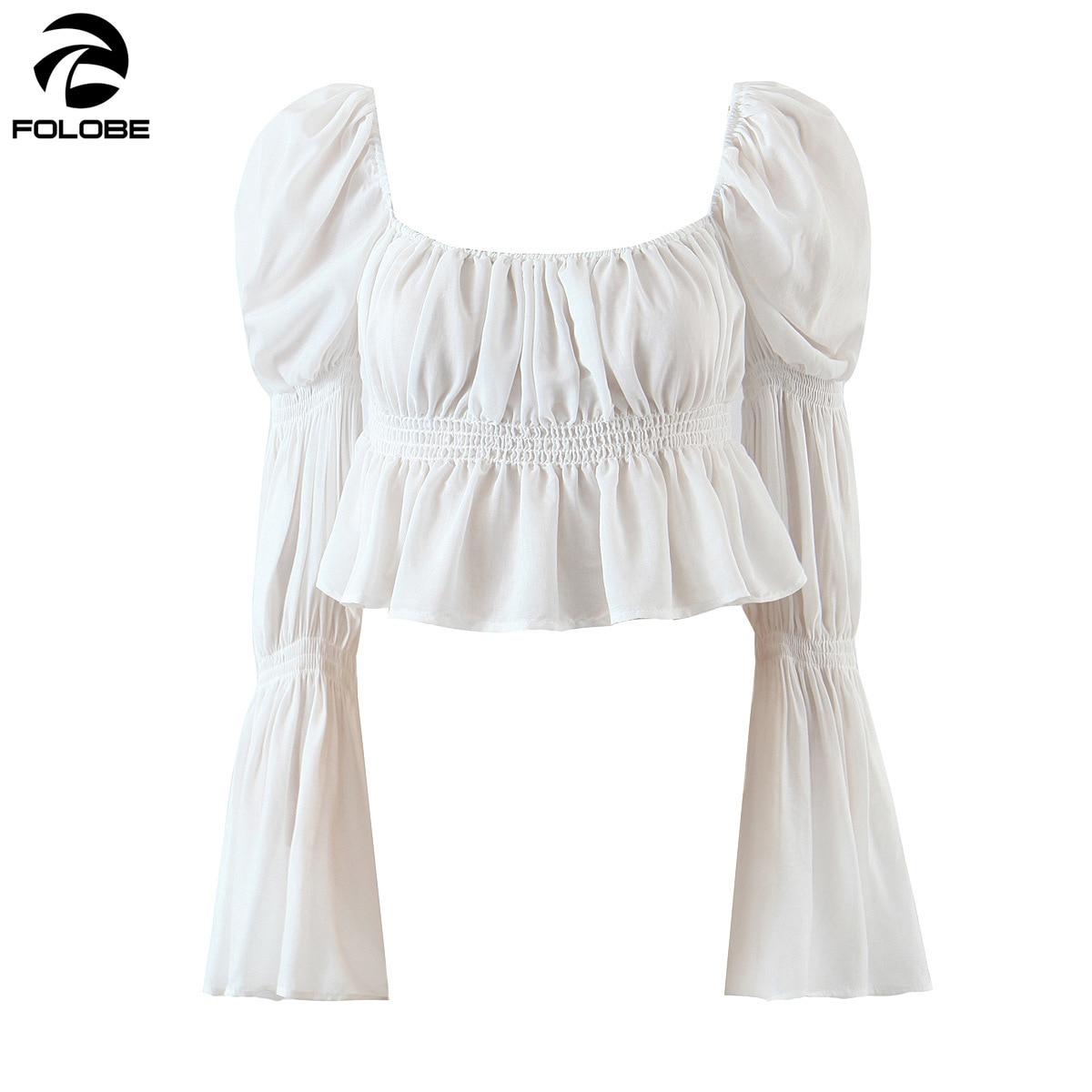 FOLOBE-Tops de cuello cuadrado francés para mujer, camisa de manga corta acampanada, Tops sexys de moda para primavera y verano, 2021