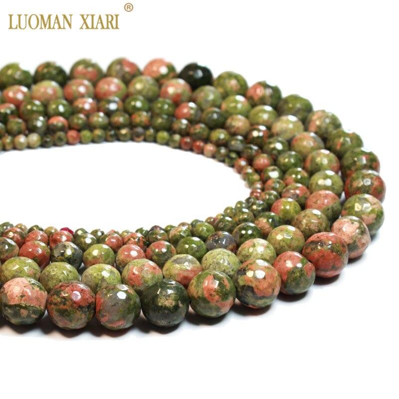 Venta al por mayor AAA unakite Natural facetado redondo rojo verde cuentas de piedra Natural para fabricación de joyería DIY collar de pulsera 4/6/8/10/12mm