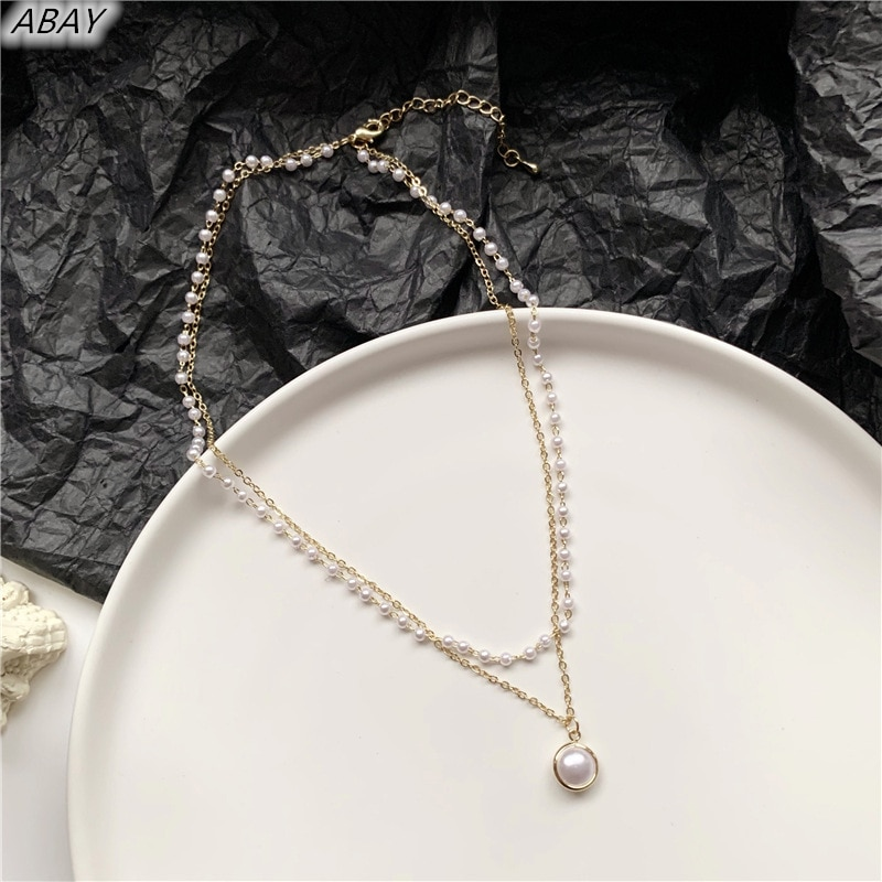 Abay clássico romântico doce duplo corrente pérola costura colar gargantilha colar pendente para mulheres meninas colar jóias presente