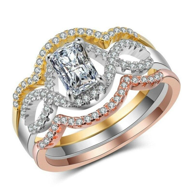 3 pièces Ms or Rose fiançailles/bijoux de fête multicolore Zircon guirlande bague de fiançailles