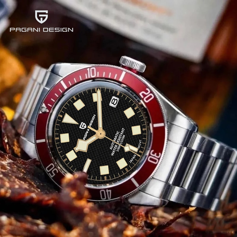 PAGANI DESIGN Black Bay Automatic Men Sport Watches Stainless Steel Waterproof Luminous Luxury Fashi